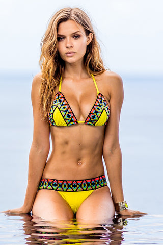 Sauvage Swimwear Yellow Tribal Bikini Set