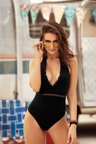 Black Fringe One Piece Swimsuit