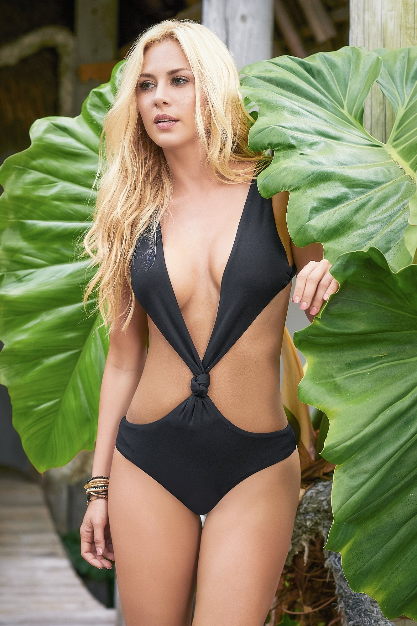 d9591bf710f Pool Party One Piece Black Thong One Piece Tropical Swimwear Plunging V  Neck One Piece Thong Monokini ...