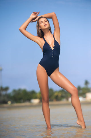 Blue Ribbed Swimwear