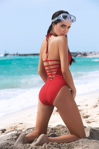 Designer Red Swimsuit