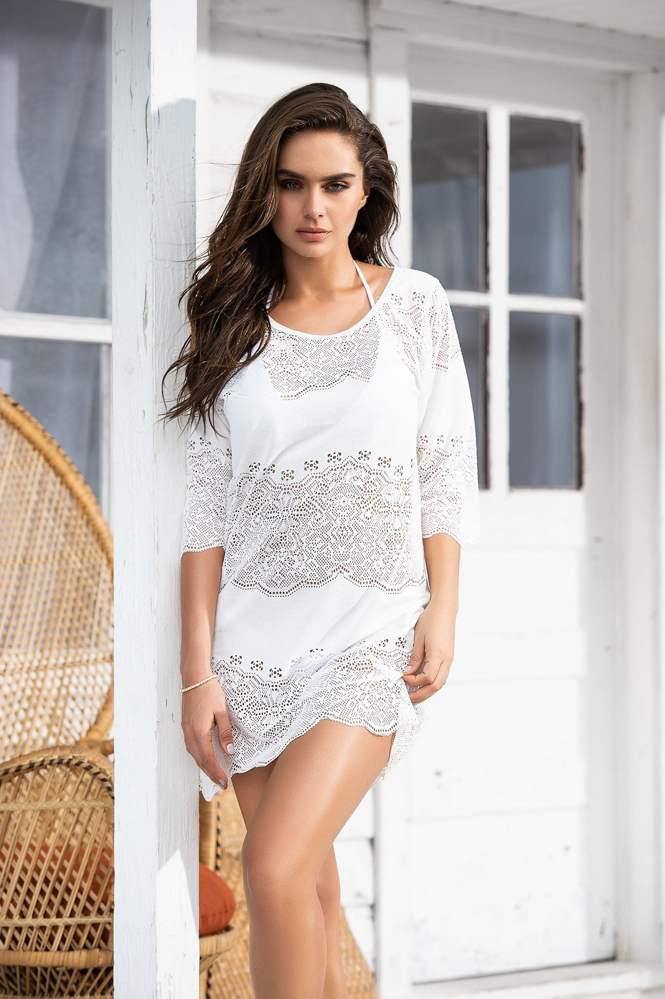 7fce6b25854 Vacation Beach Dress Sheer Beach Cover Up