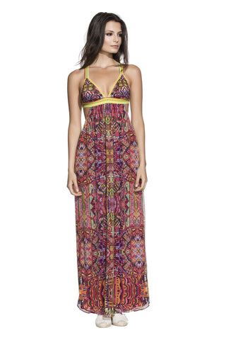 Agua Bendita Maxi Dress - Tribe Print