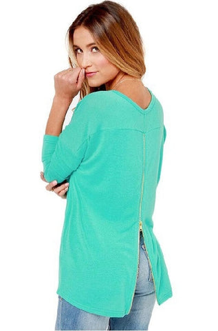 Bikini Luxe mint long sleeve blouse