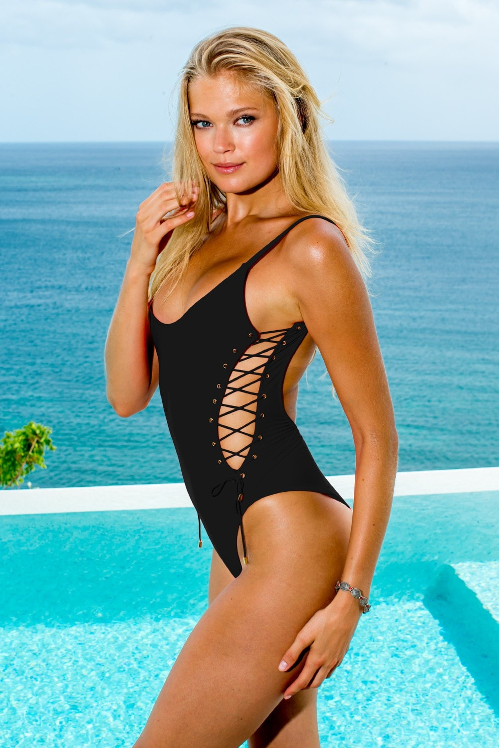 2760ab92551 Sauvage Swimwear - Side Lace One Piece