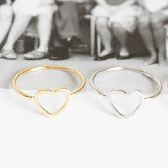 Dainty Heart Shaped Rings - Silver and Gold