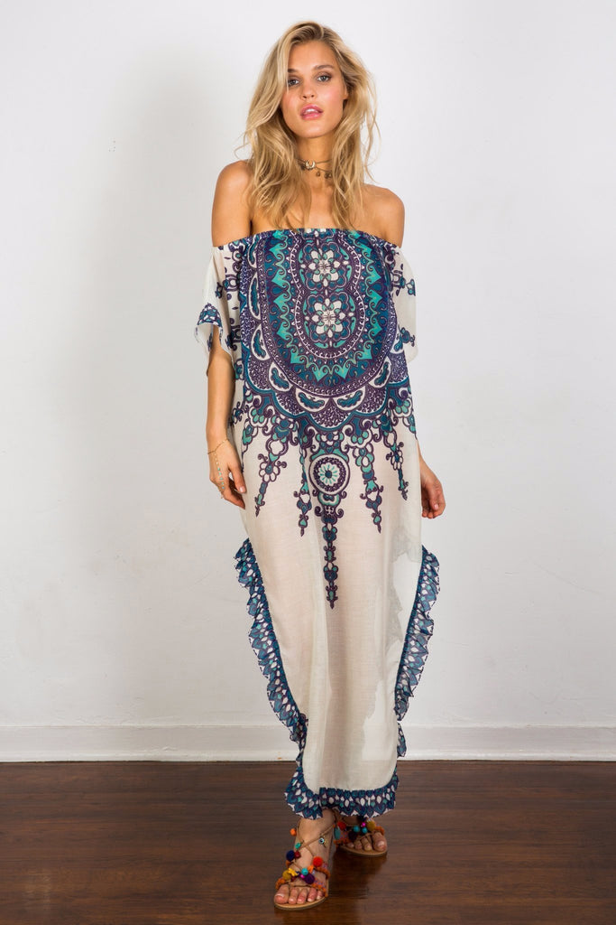 Soah Delphine Blue off the shoulder caftan