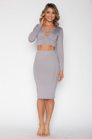 Mauve Crop Top Set