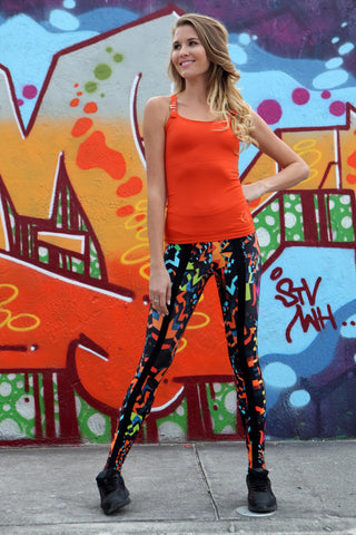Orange designer activewear top