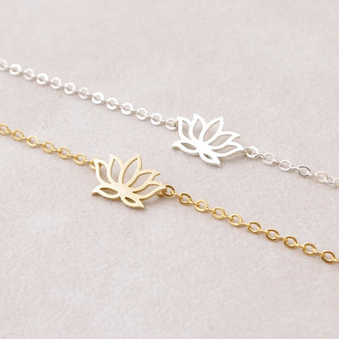 silver and gold lotus flower bracelet