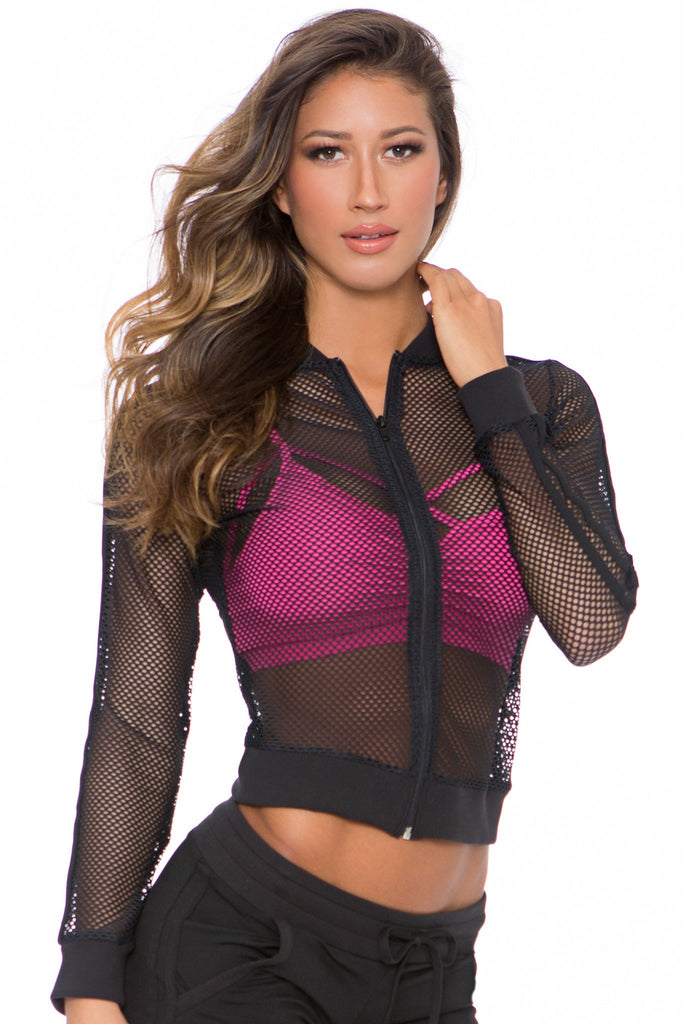 Black Mesh Active Jacket