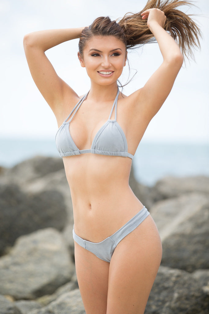 Montce Swim Grey Faux Suede Euro Top - Triangle Top