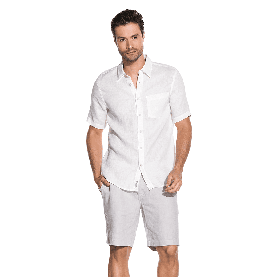 SOLID COLOR LINEN SHORT SLEEVE SHIRT