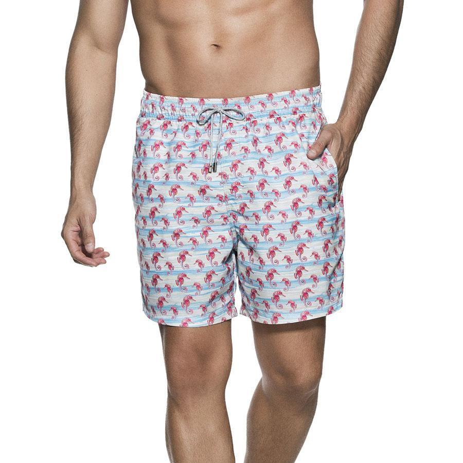 ONDADEMAR BICOLLAGE SWIMWEAR SEAHORSE PRINT SEA FIT SWIMSHORTS