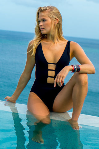 Black Ladder One Piece - Sauvage Swimwear