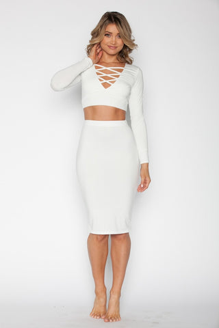 White Crop Top Set