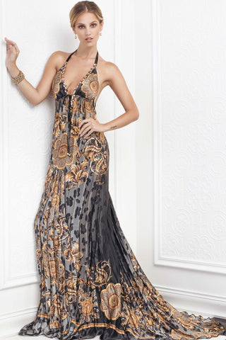 Baccio Couture Alis Silk Halter Dress