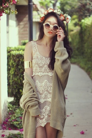 Beige Crochet Cover Up