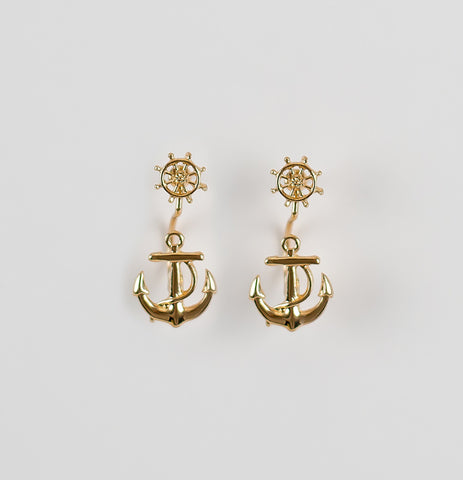 bikini luxe gold anchor earrings