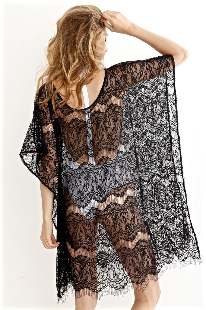 Peixoto swimwear black lace coverup