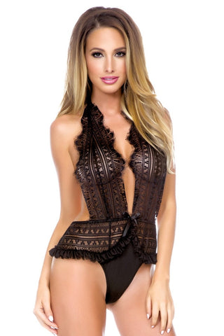 Black Lace Halter Teddy