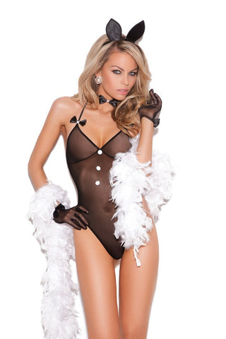 elegant moments bunni love black mesh teddy