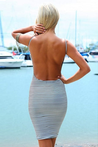 Clueless Backless Striped Dress
