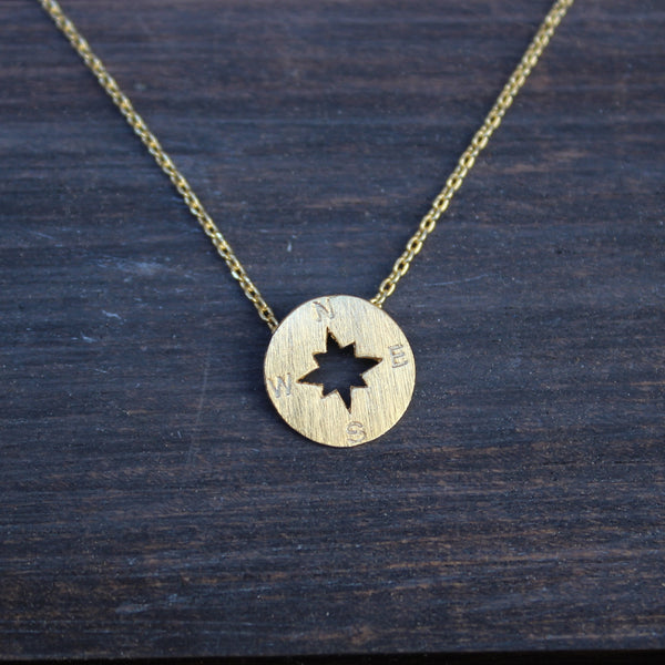 Compass Dainty Necklace Available In Gold Or Silver