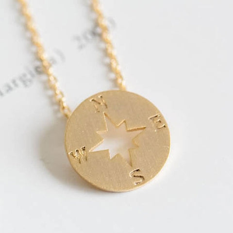 dainty necklace in 14k gold, compass style
