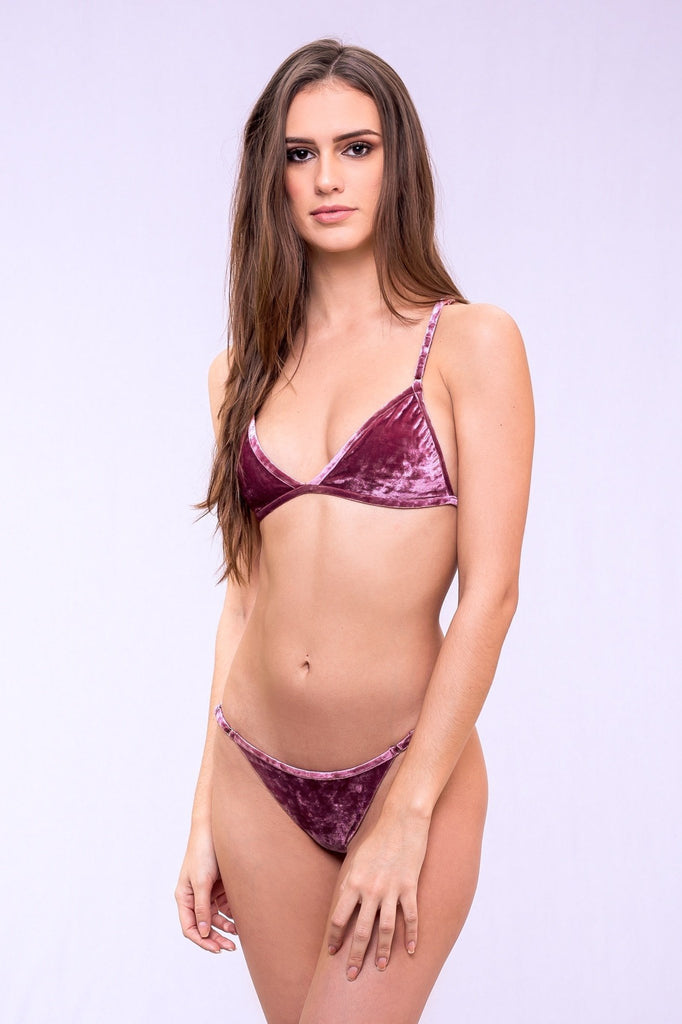 dbrie ali bikini top in rose quartz velvet
