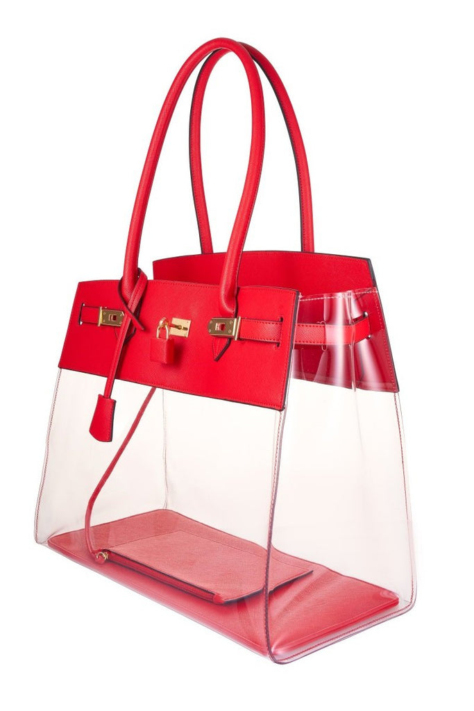 Red Transparent Tote Bag