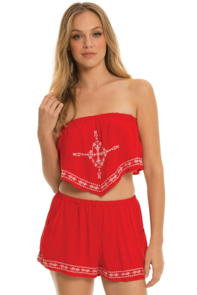 Designer Strapless Crop Top And Shorts Set Red And White