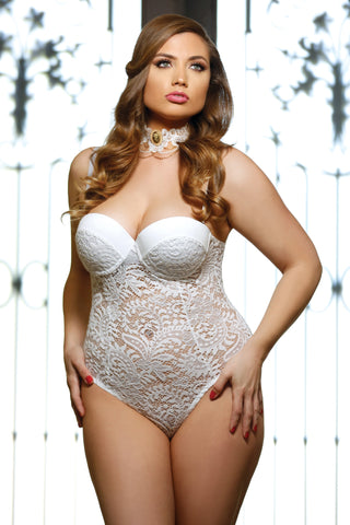 Full figure lace teddy