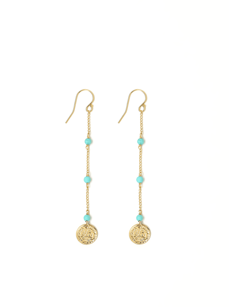 gold chain coin earrings
