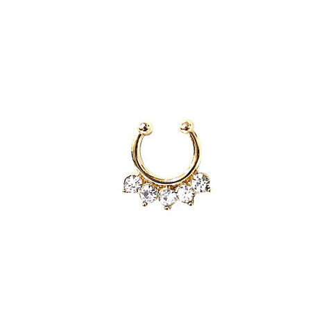 Gold Rhinestone Faux Septum Ring