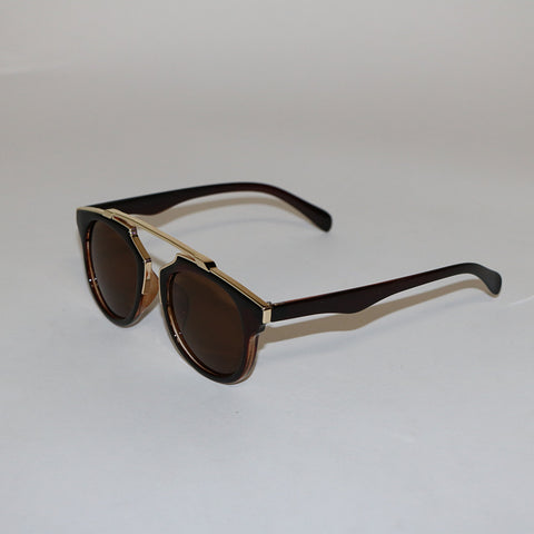 Gold Rim Brown Sunglasses