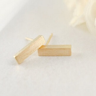 14k Gold Bar Stud Earrings