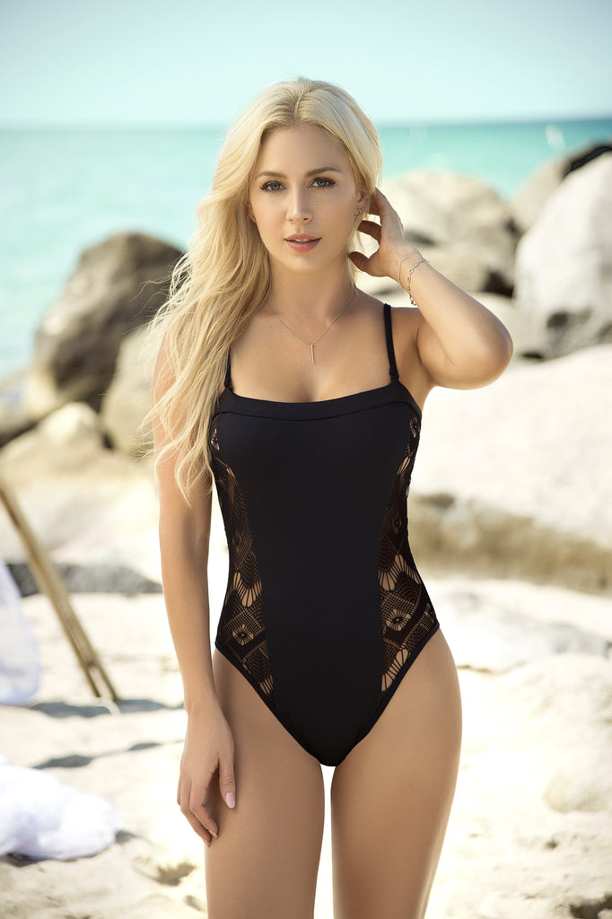 black lace one piece swimsuit