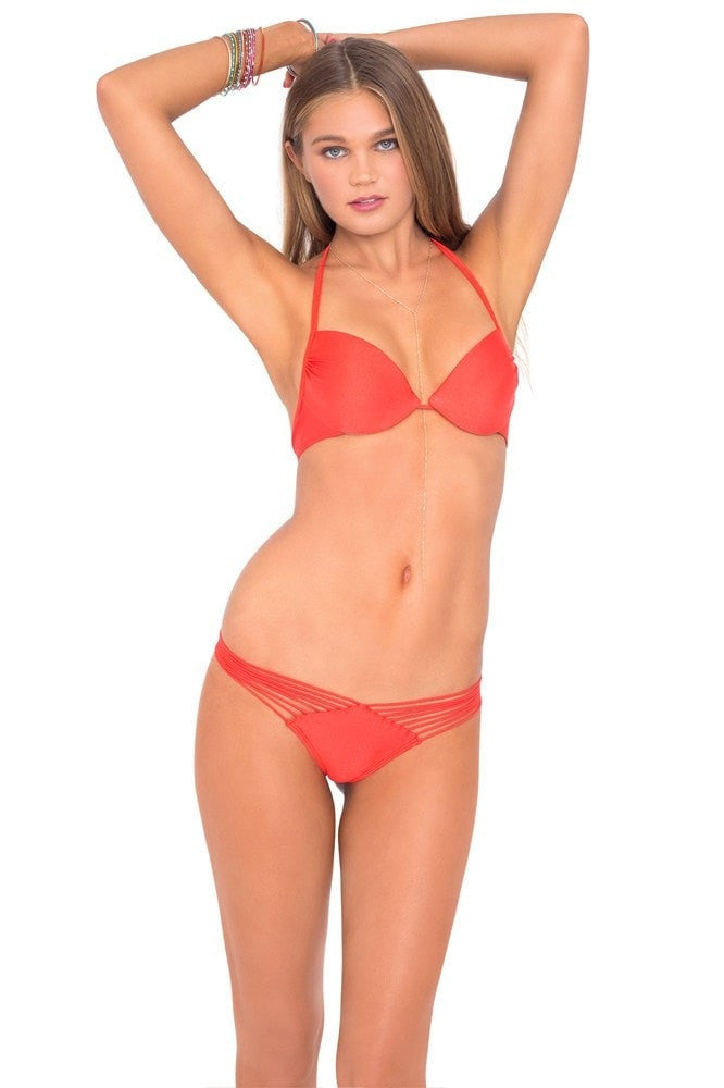 Luli Fama Seamless Push Up Bikini Top - Luli Red