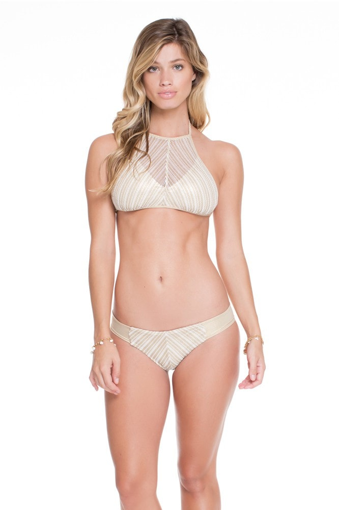 Luli Fama White Halter Top with Gold Accents