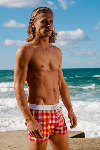 Sauvage Peach Plaid Retro Lycra Swimmer | Luxury Mens Swimshorts