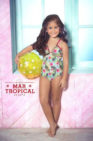 Mar Tropical Designer Kids Swimsuit | Mar de Rosas Swimwear