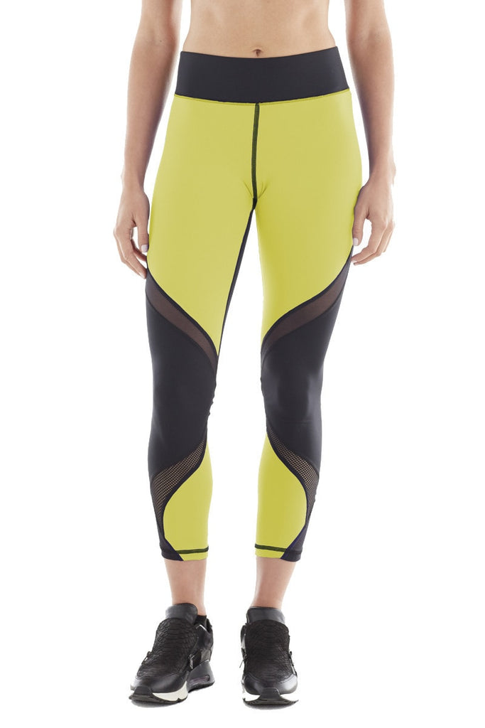 Michi Hydra Crop Acid Yellow Leggings