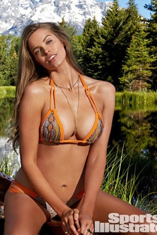 Montce Swimwear Orange Snake Euro Top
