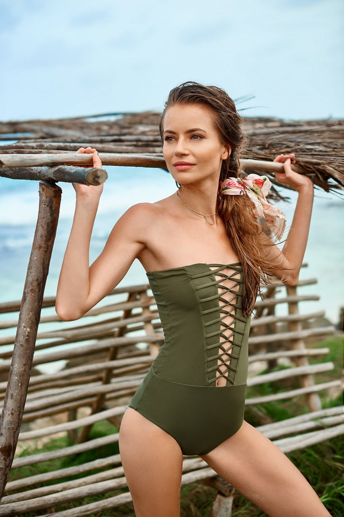 Olive Bandeau One Piece