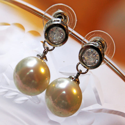 Pearl Stud Earrings with Pave Diamonds