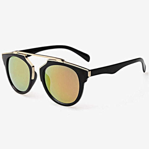 Round Mirrored Metal Brow Bar Sunglasses