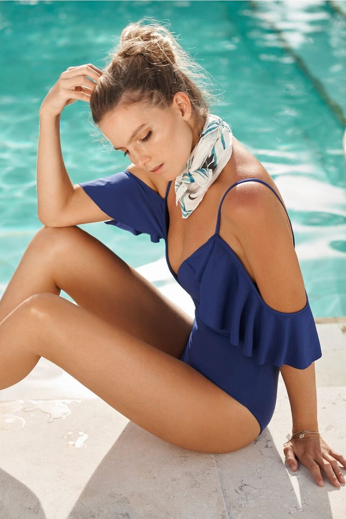 Ruffle details one piece