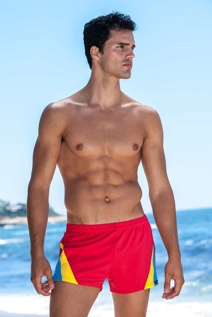 b843f05642 Sauvage Swimwear Color Splice 80's Swim Trunks - Red