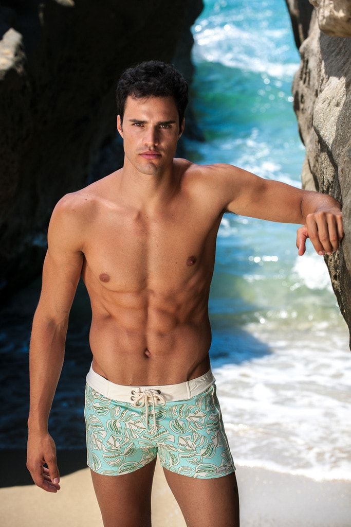 Sauvage Swimwear Green Floral Swim Trunks